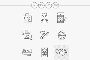 Romantic greeting line vector icons