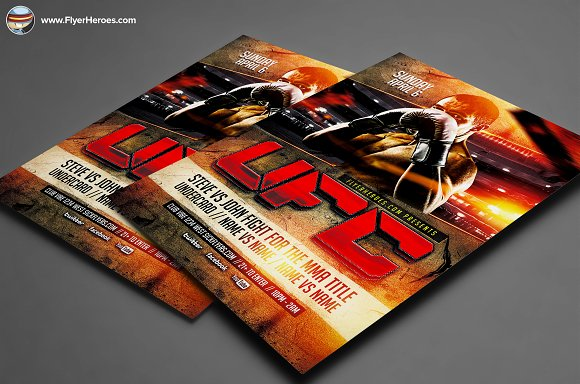 UFC Style Fight Night Flyer Template Flyer Templates on Creative – Ufc Flyer Template
