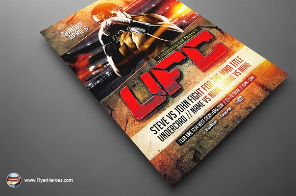 UFC Style Fight Night Flyer Template Flyer Templates Creative – Ufc Flyer Template