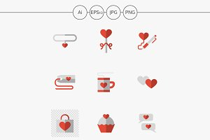Flat love relationship vector icons
