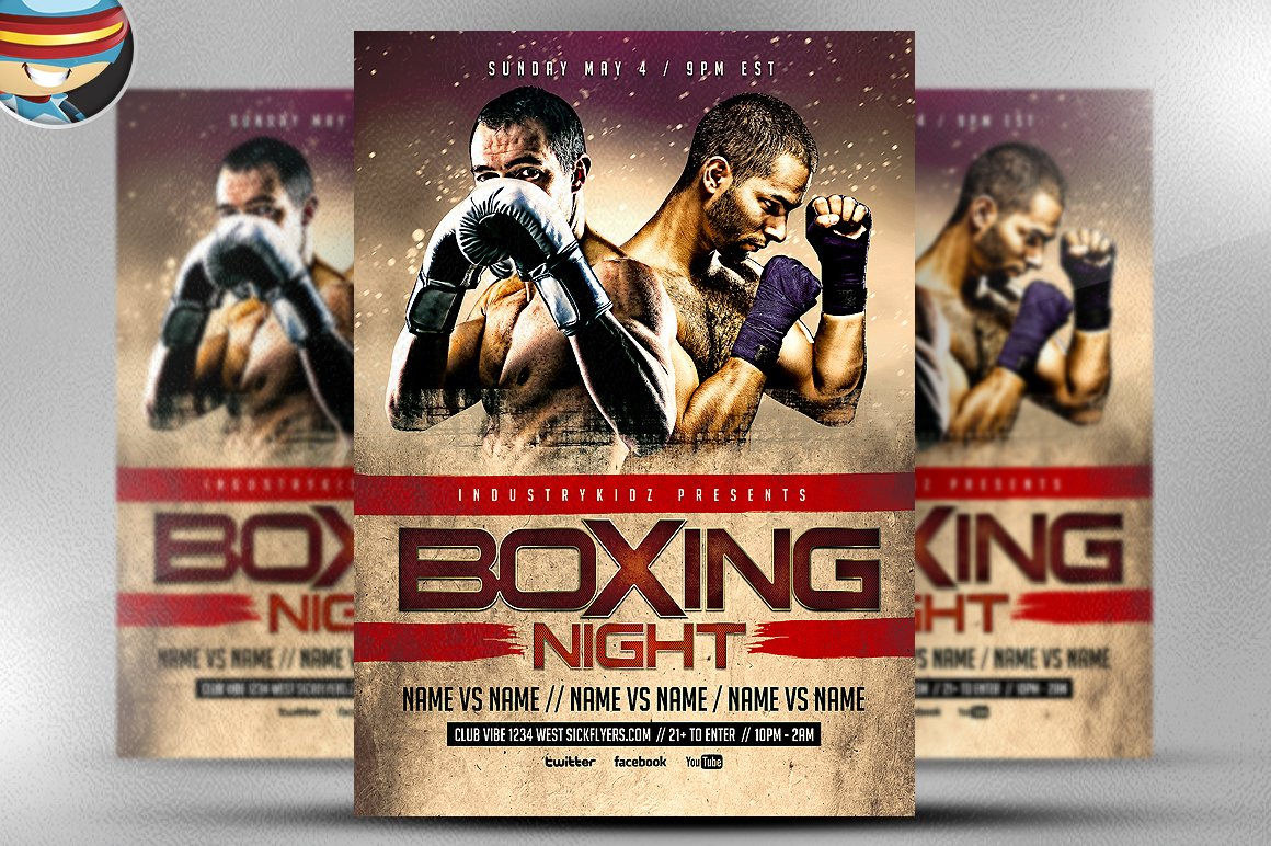 Boxing Night Flyer Template Flyer Templates Creative Market – Ufc Flyer Template