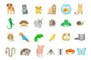 Animals Pets Vector Flat Icons