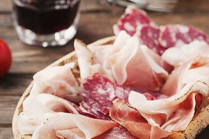 Plate with ham, bacon, salami and