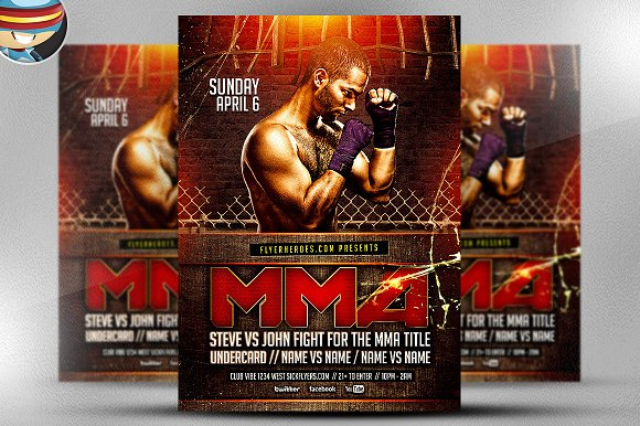 Grimy MMA Flyer Template Flyer Templates Creative Market – Ufc Flyer Template