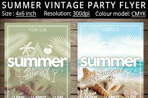 Summer Vintage Grunge Party Flyer