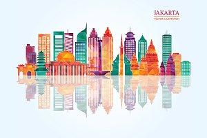 Jakarta detailed skyline.