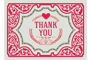 Thank You Vintage Greeting Card
