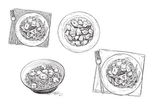 Food Sketch. Dinner Dish.