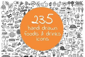 235 Hand Drawn Restaurant Icons