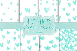 Mint Hearts Pattern Paper