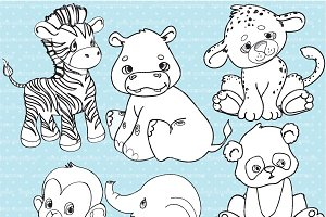 Clipart, Jungle Animal Stamp AMB-132
