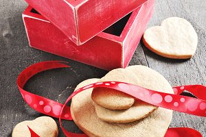 Shortbread cookies, hearts & red box