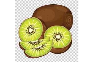 Kiwi Isolated, Vector.