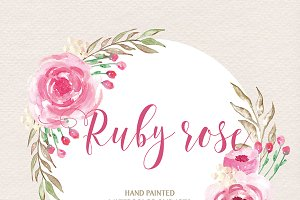 Watercolor Ruby rose cliparts