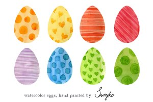 Easter Eggs - Watercolor Clip Art