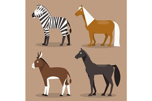 Set equines. Vector Illustration