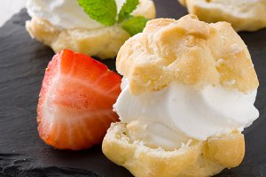 Profiteroles and strawberries