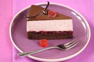 Piece of Chocolate Cherry Mousse Cak