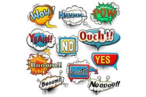 Bright comic speech bubbles
