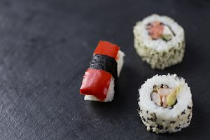 Sushi pieces closeup