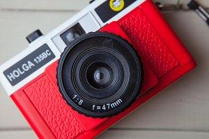 Cute red camera