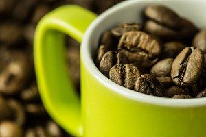 Green coffee cup closeup