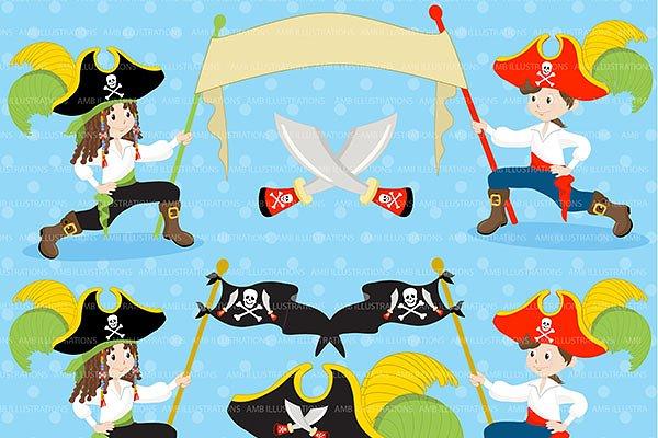 Band Of Pirates Clipart Amb 177 Pre Designed Illustrator Graphics Creative Market