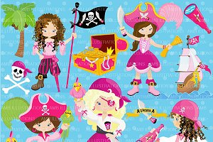 Girl Pirate Clipart AMB-1107