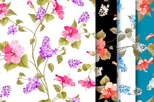 Vintage flowers seamless pattern.