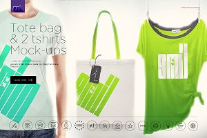 Linen Tote Bag, 2 Women T-shirts