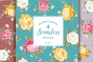 Seamless peony pattern. Set.