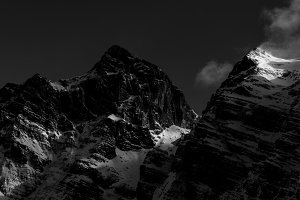 Black and white mountains