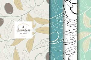 Olive seamless pattern.