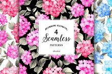 Hydrangea seamless pattern.