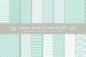14 Sea Green Digital Papers