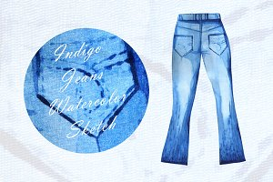 Indigo Jeans Watercolor Sketch