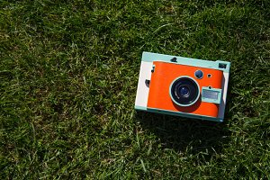 Cute retro orange camera