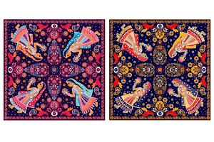 2 Illustrations for shawls, textile
