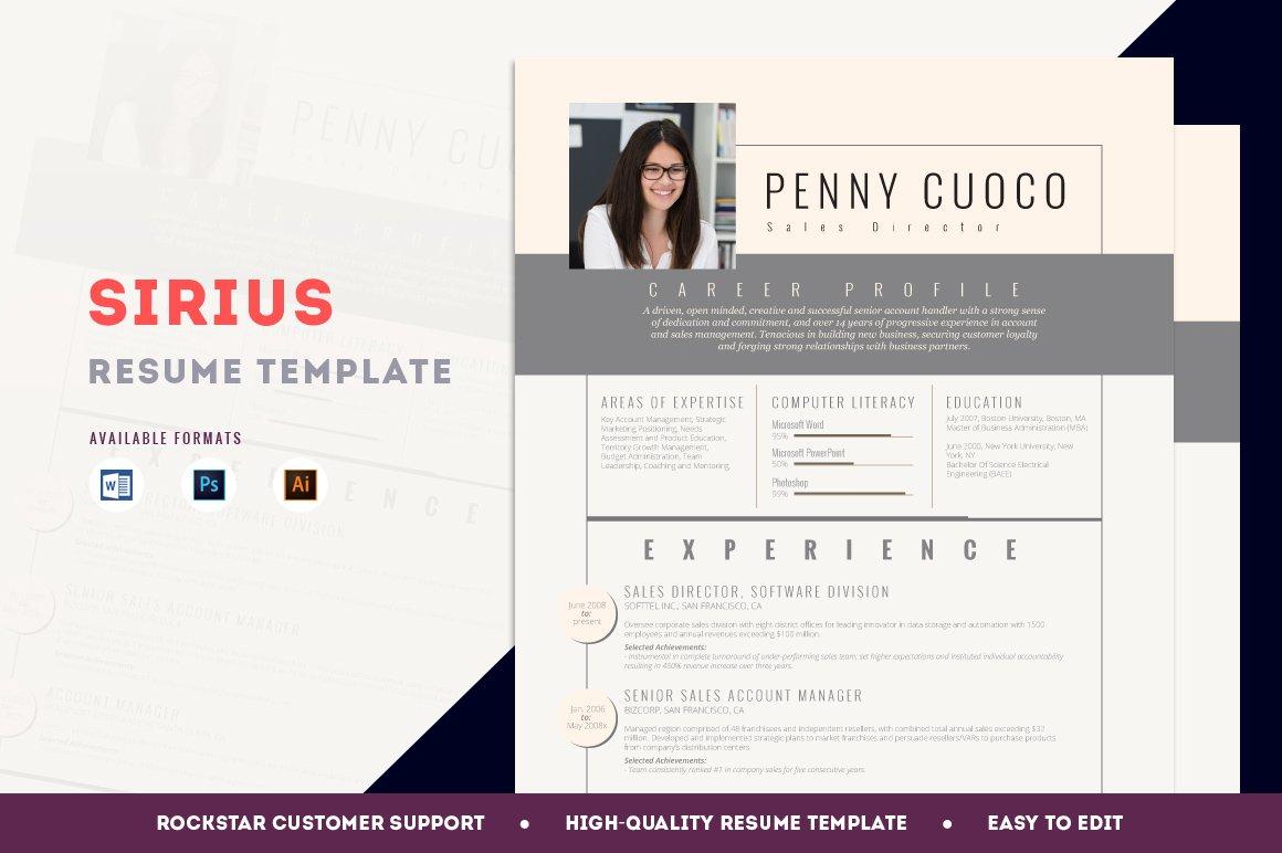 resume template sirius resume templates creative market