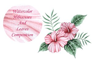 Watercolor Hibiscuses Plus Vector