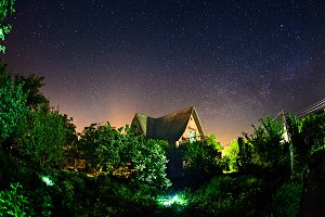 Night landscape with house