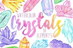 Watercolor crystals, minerals, gems