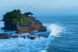 Temple Tanah Lot on coast of island Bali in Indonesia.jpg