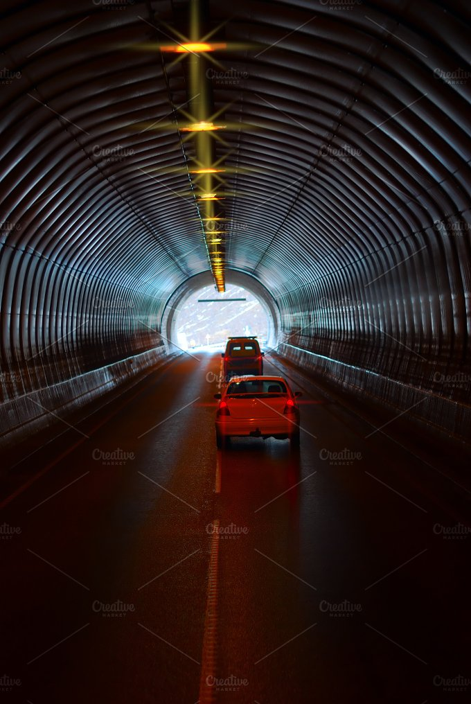 Cas are in the long road tunnel.jpg - Transportation