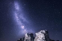 Milky Way in mountains. Night landsc