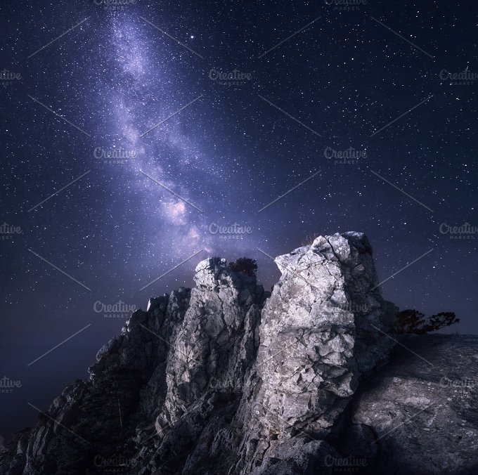 Milky Way in mountains. Night landsc - Nature