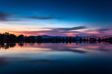 Night landscape at the river