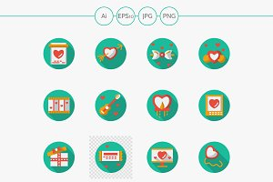 Round flat love courtship icons