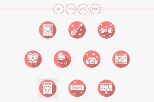 Round pink romance vector icons