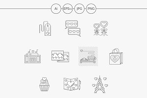Thin line love story vector icons